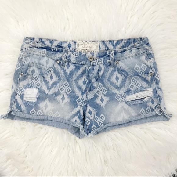 Altar'd State Pants - Alter'd State Southwest Print Denim Cut Off Shorts
